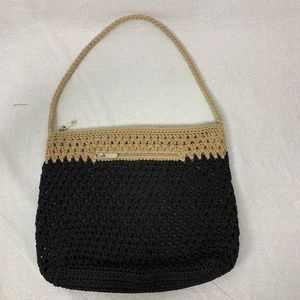 The Sak Womens Knit Purse Black Tan Zip Closure